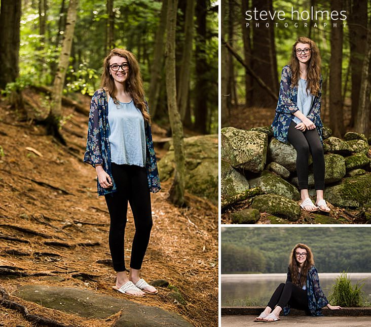 08_Young woman wearing floral blouse stands on woodland path.jpg