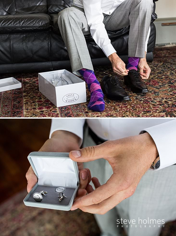 04_Groom in grey suit ties his shoes over purple argyle socks.jpg
