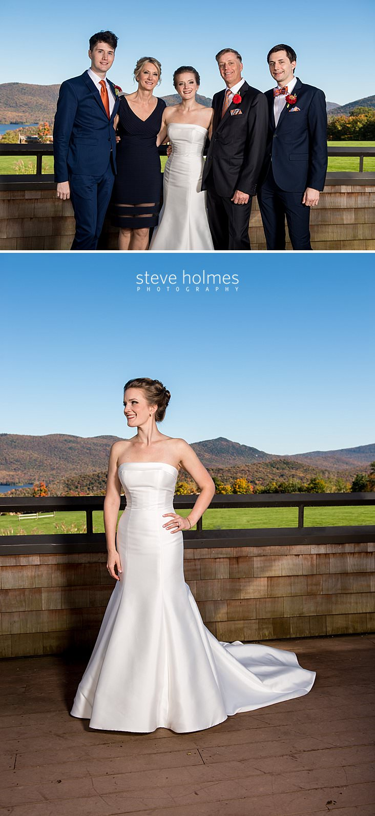 12_Bride poses with her family on balcony overlooking fall mountains.jpg