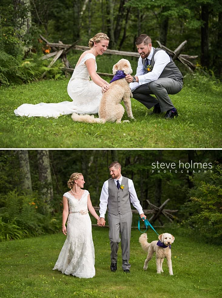 20_Bride and groom laugh and kneel to pet their dog.jpg