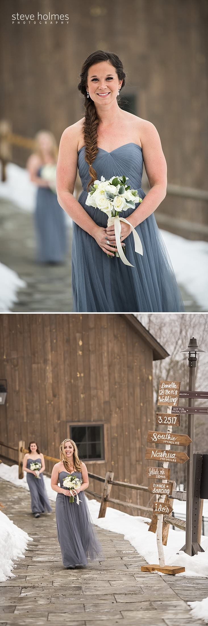21_Brunette bridesmaid with fishtail braid walks to ceremony.jpg