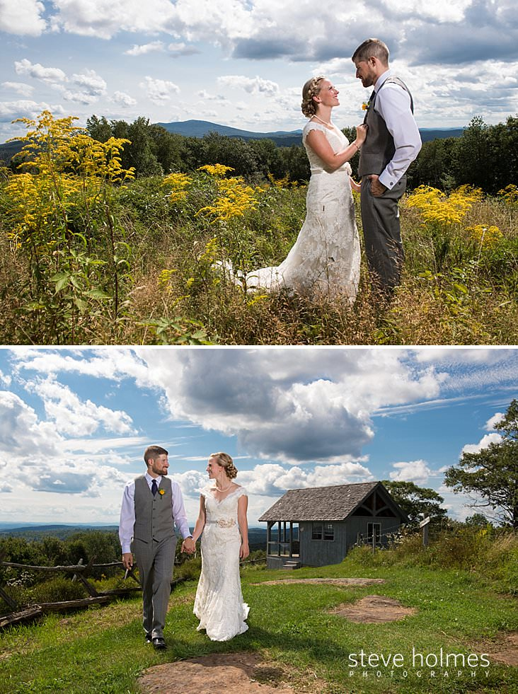 28_Bride and groom smile at each other while standing in field of wildflowers_.jpg