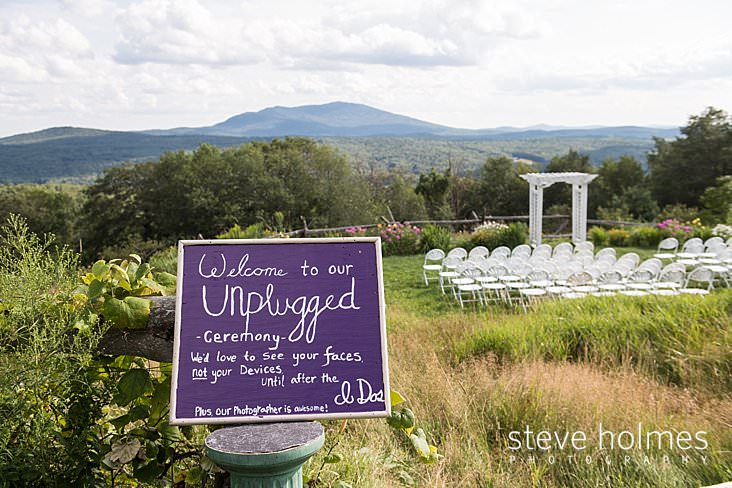 36_Unplugged wedding sign displayed at entrance to outdoor wedding ceremony.jpg