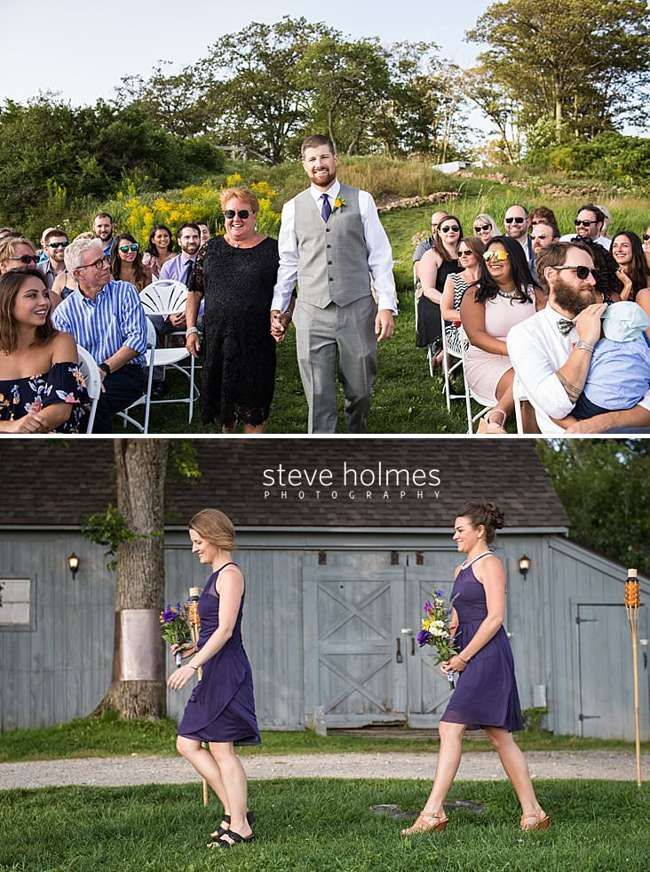 40_Groom walks with his mother down the isle in outdoor ceremony held in Vermont.jpg