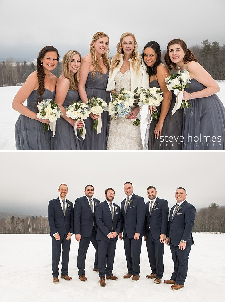 41_Blonde bride poses with bridesmaids in grey maxi dresses in outdoor, winter wedding.jpg