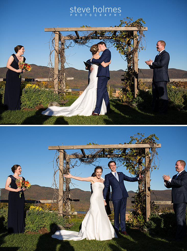 47_Bride and groom kiss at alter in outdoor autumn wedding ceremony.jpg