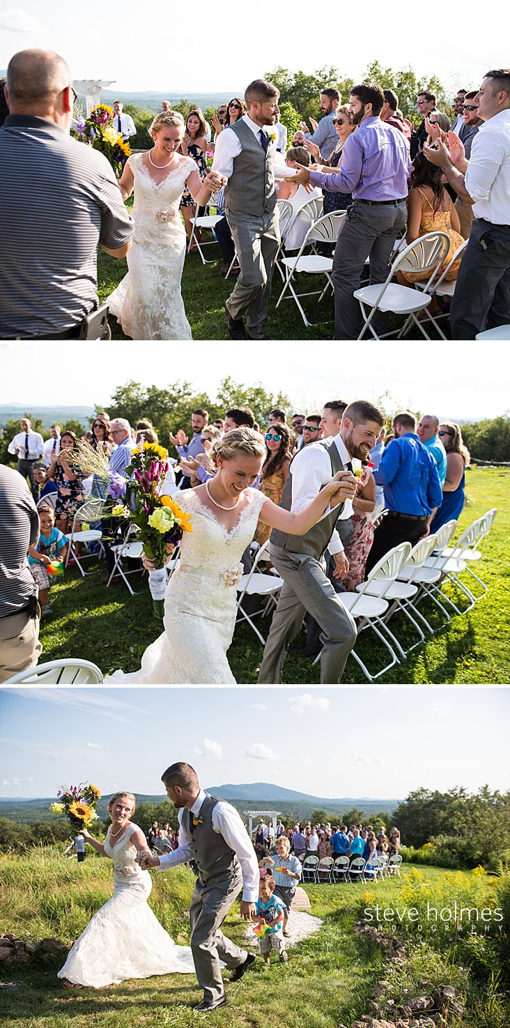 49_Groom and bride walk up isle as guests cheer and clap in outdoor wedding ceremony.jpg