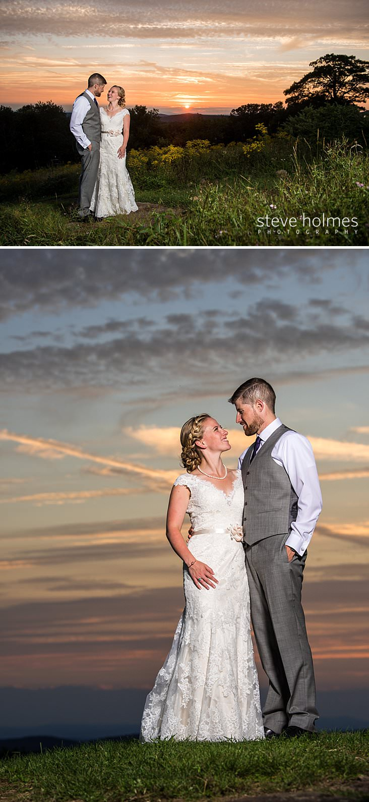 63_Bride and groom stand together at sunset on mountain ridge_.jpg