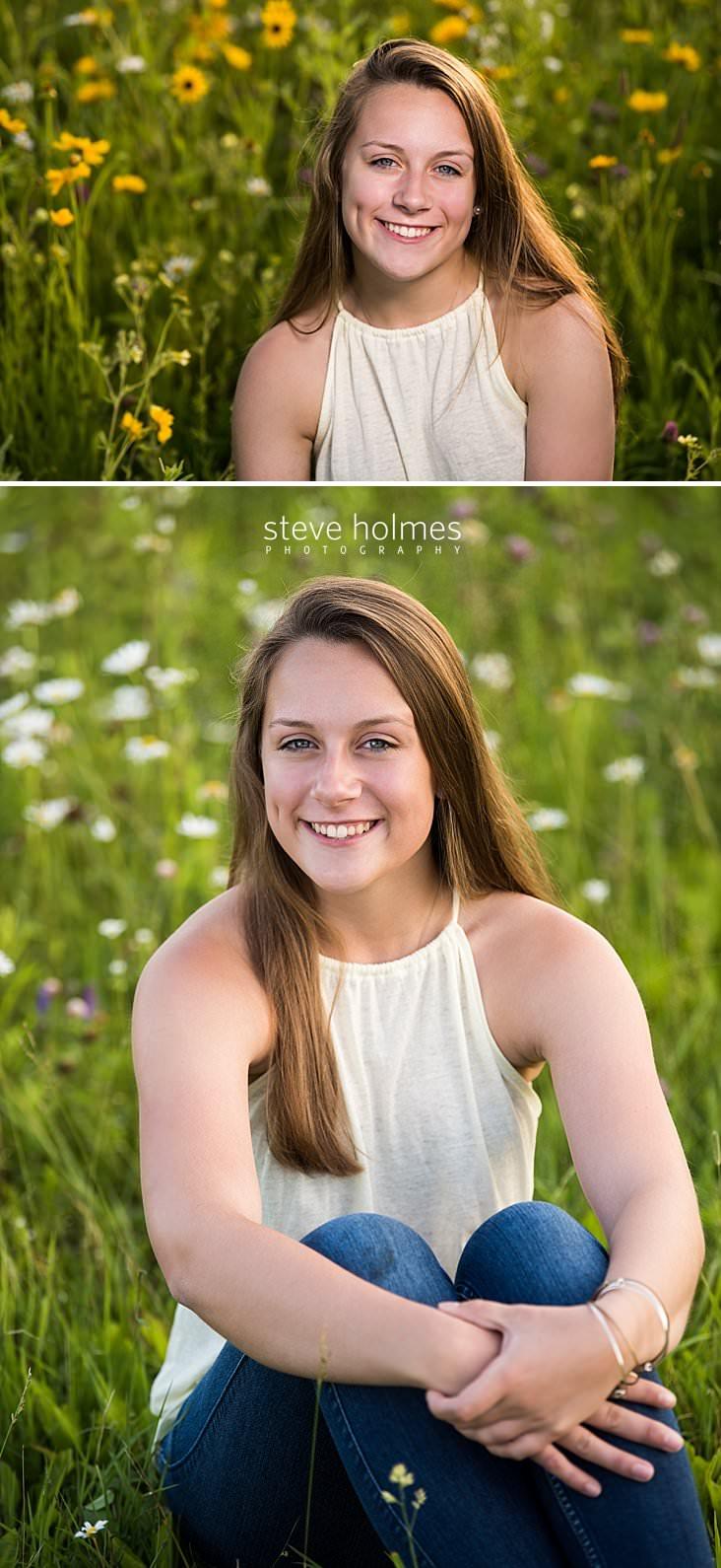 13_Brunette teen smiles for portrait in field of wildflowers.jpg