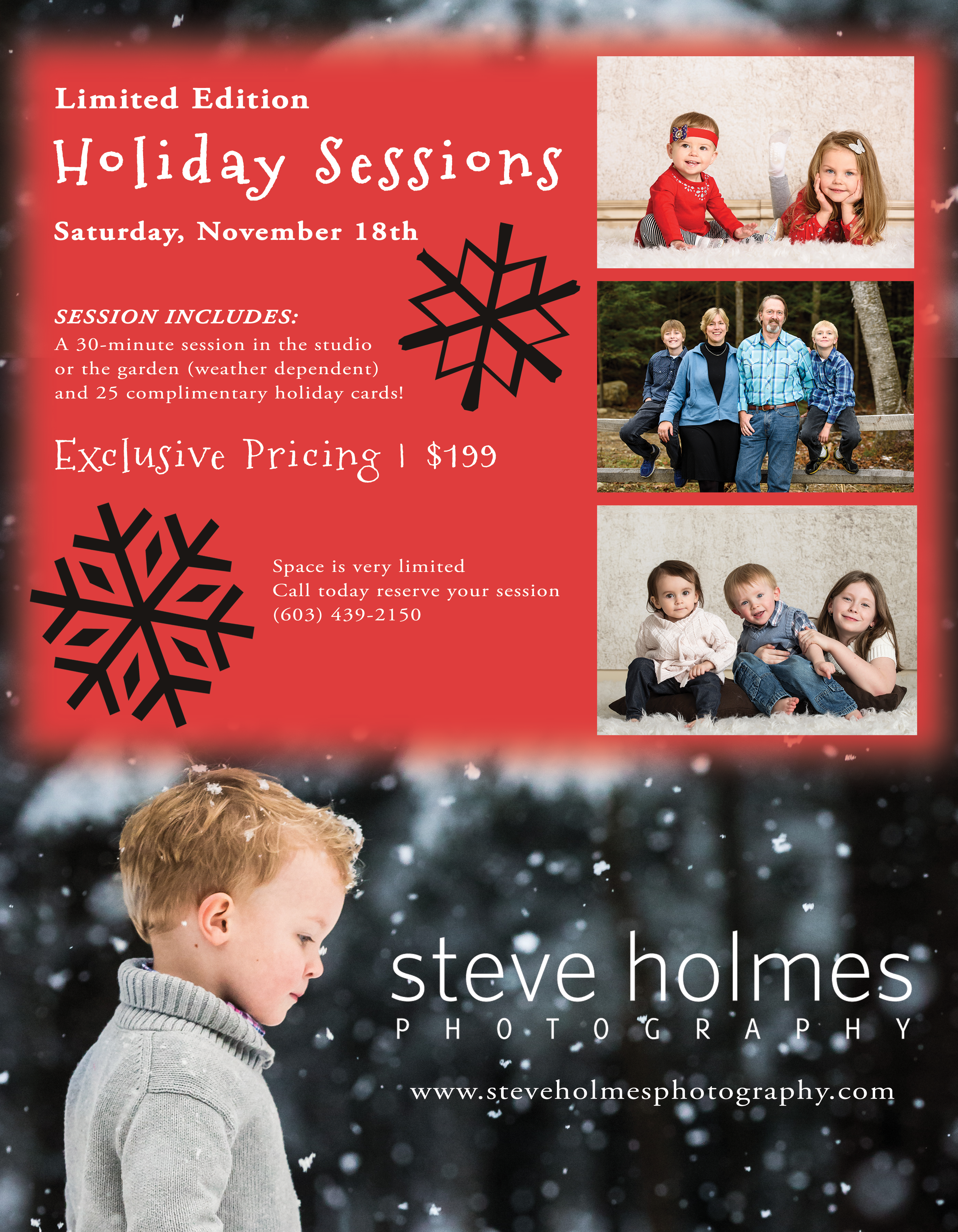 Promotional information for Steve Holmes Photography Limited Edition Holiday Sessions