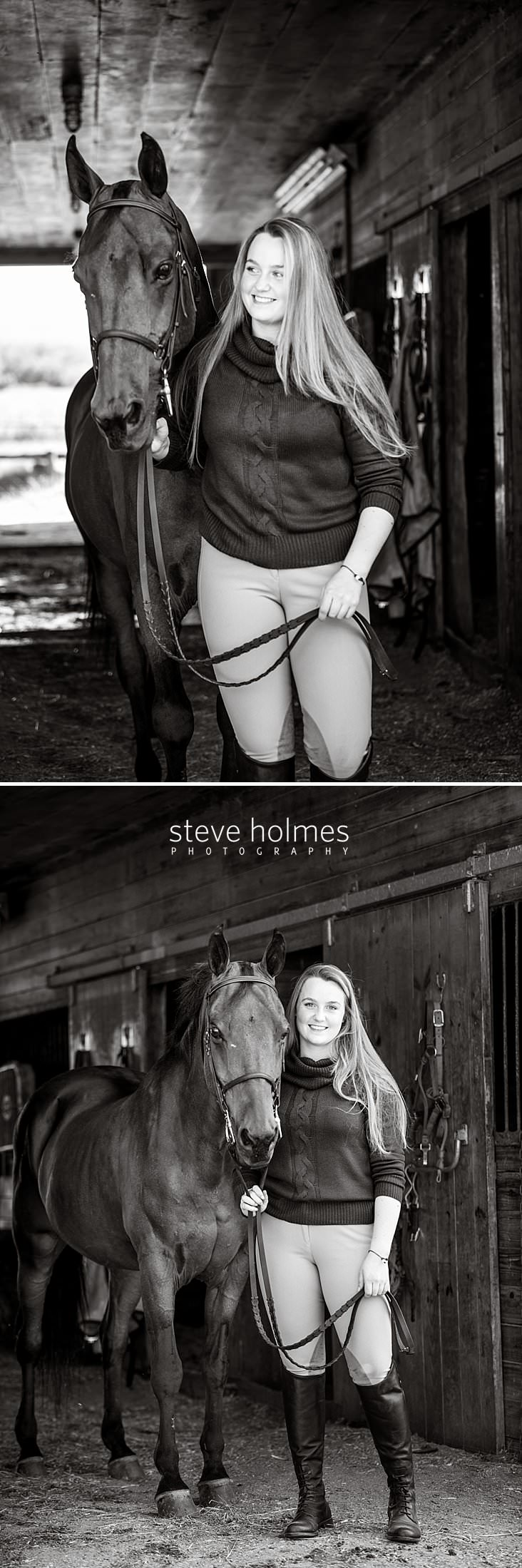02_Black and white portrait of teen girl looking to the side in the barn with her horse.jpg