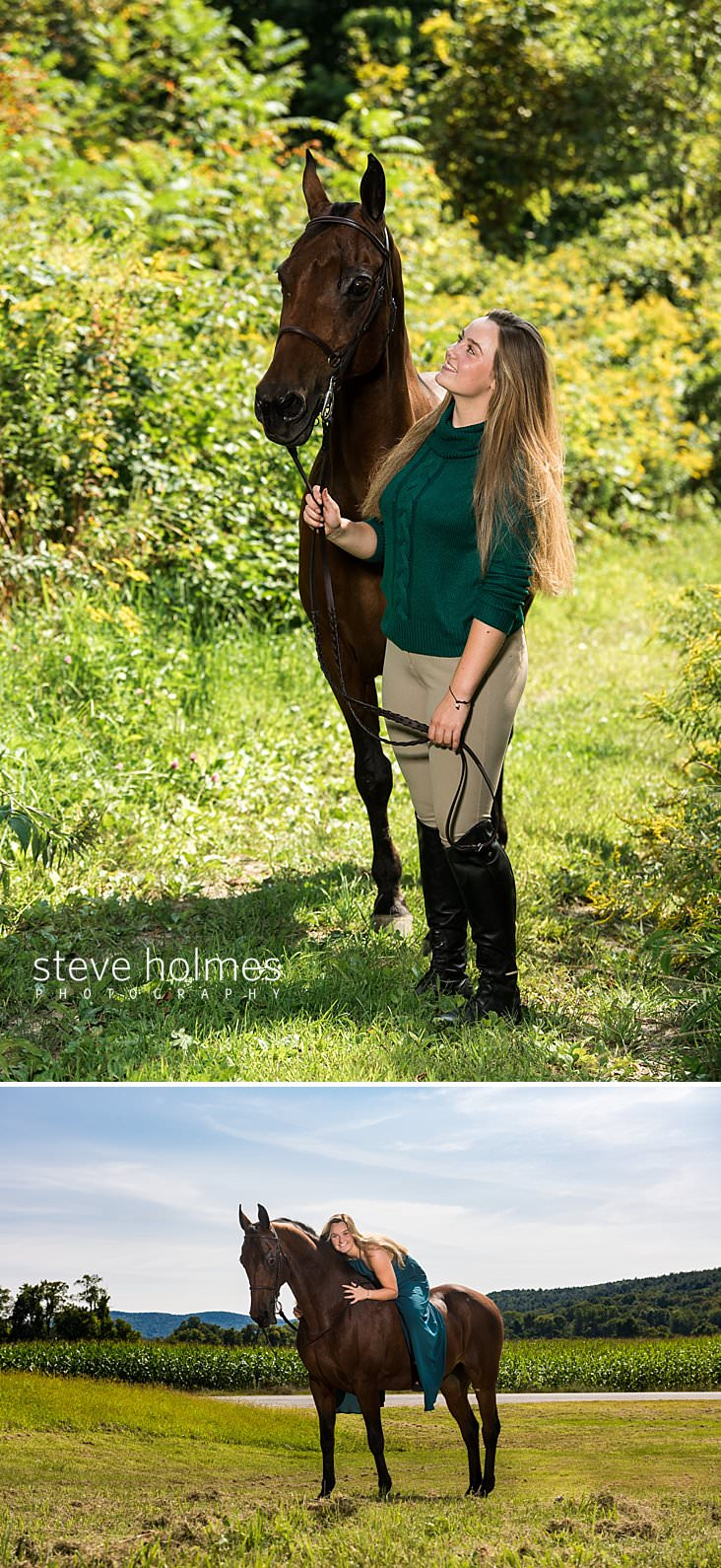 04_Young woman stands looking at her horse on a path surrounded by green.jpg