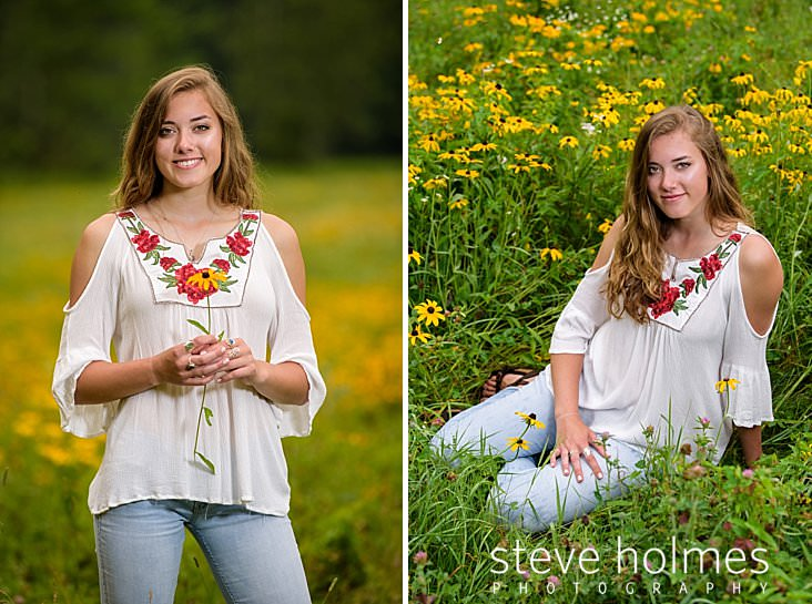 14_Teen girl in a field wearing white blouse and jeans holds a flower in her hands.jpg