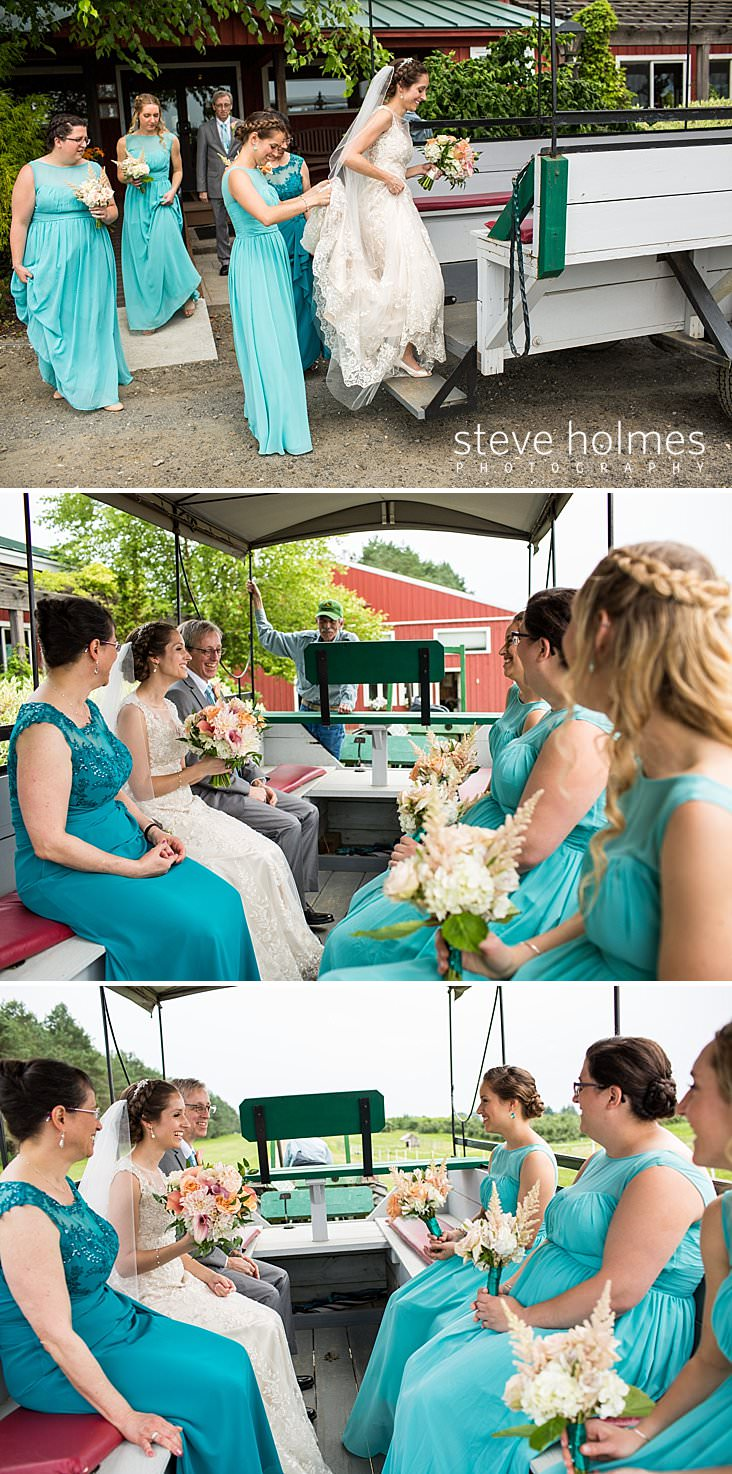 25_Bride is helped into a wagon to be led to outdoor orchard ceremony.jpg