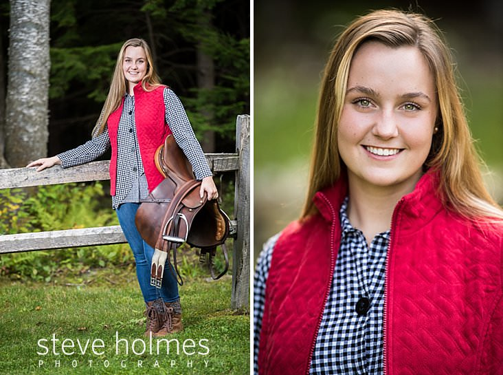 31_Teen girl wearing red vest stands against fence with her saddle_.jpg