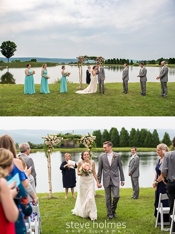 48_Excited bride and groom begin to walk up isle together in outdoor wedding ceremony.jpg