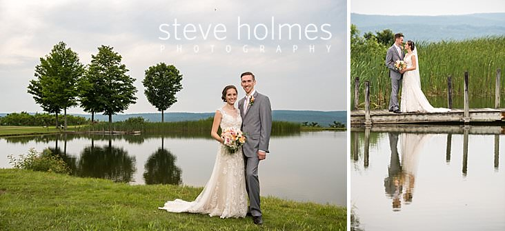 62_Bride and groom pose on the banks of a pond surrounded by green summer landscape.jpg