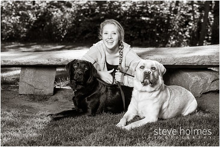 02_Keene-High-School-Senior-Pictures-Outdoors-With-Black-and-Yellow-Labs