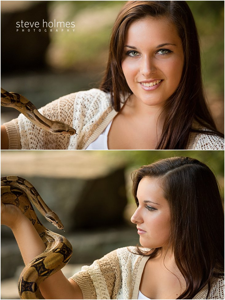 Teen girl poses with snake for portraits