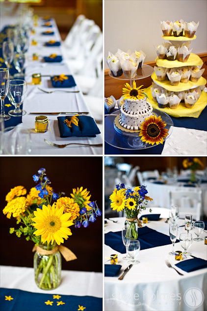 Reception Details featuring blue linens and sunflowers