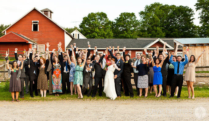 Wedding Brigade photo in front of horse barn