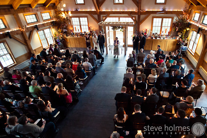 Ceremony held inside reception hall at Stonewall Farm