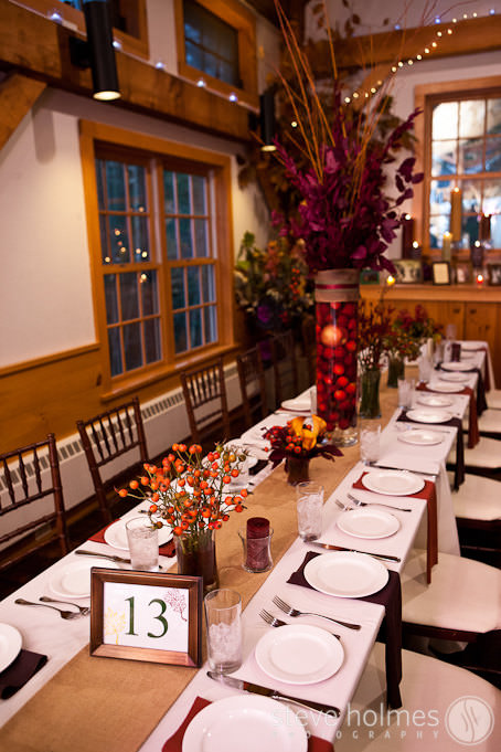 Fall Decor for wedding reception held at Stonewall Farm