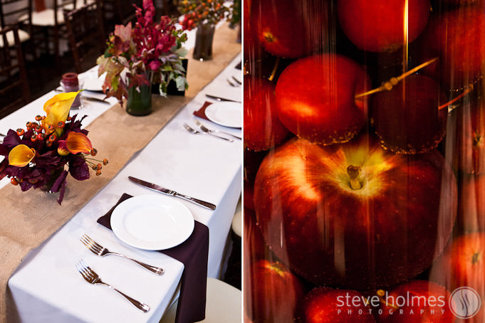 Wedding table settings and details for reception at Stonewall Farm