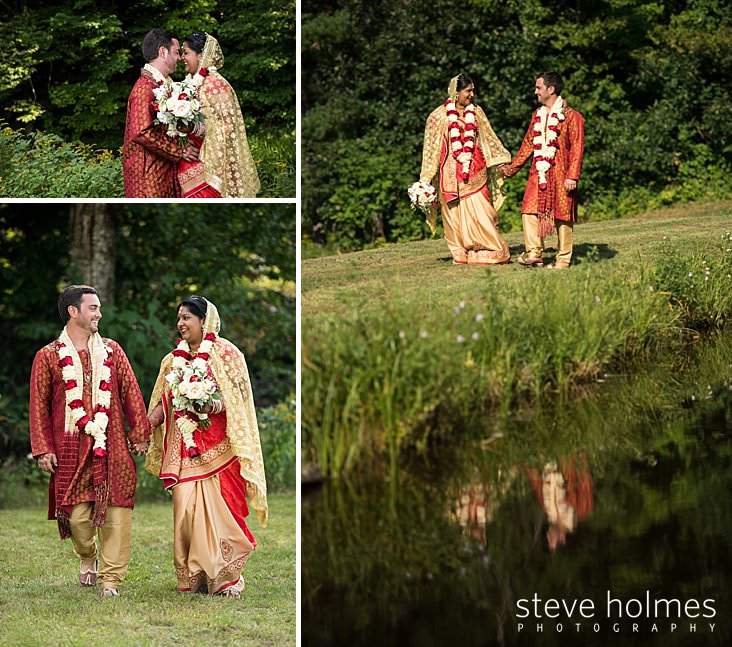 Bride and groom stand nose to nose at green forest edge