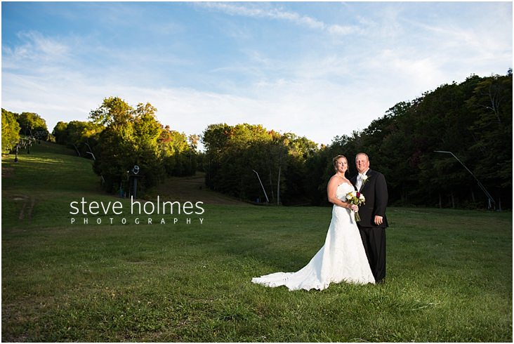 Bride and Groom at outdoor wedding held at Mount Sunapee Resort