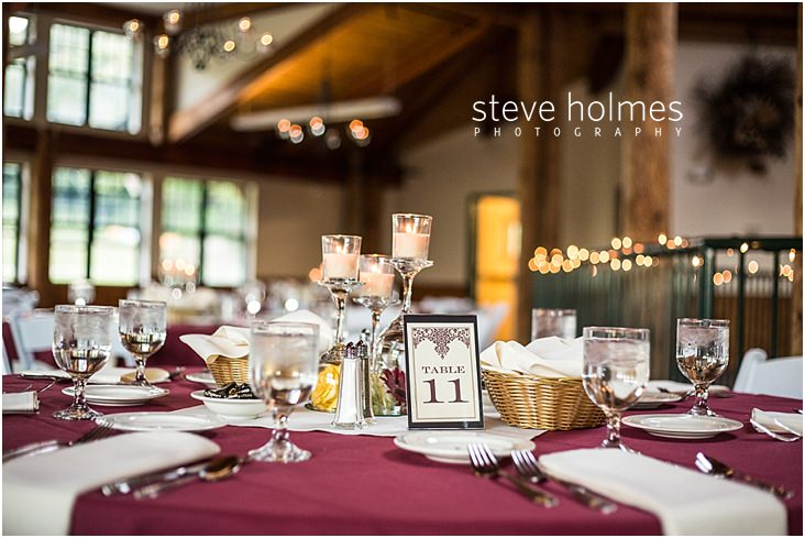 Table setting for wedding reception at Mount Sunapee Resort