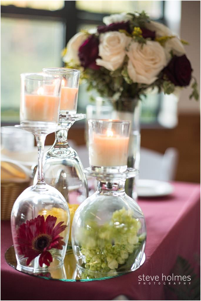 Table decor for wedding at Mount Sunapee Resort