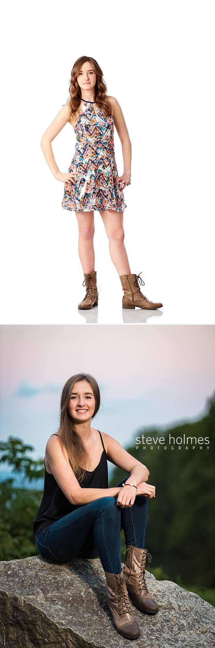 02_Teenaged girl wearing patterned dress and brown boots poses standing for studio senior portrait.jpg