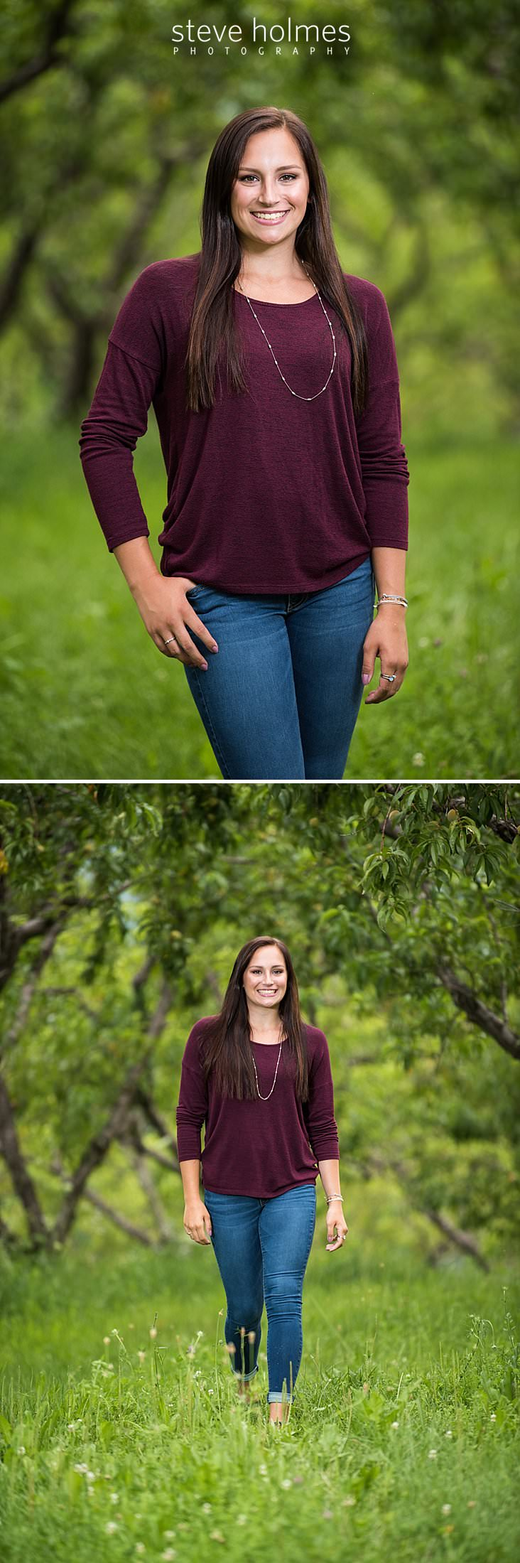 04_Outdoor senior portrait of brunette wearing long sleeve maroon shirt and jeans_.jpg