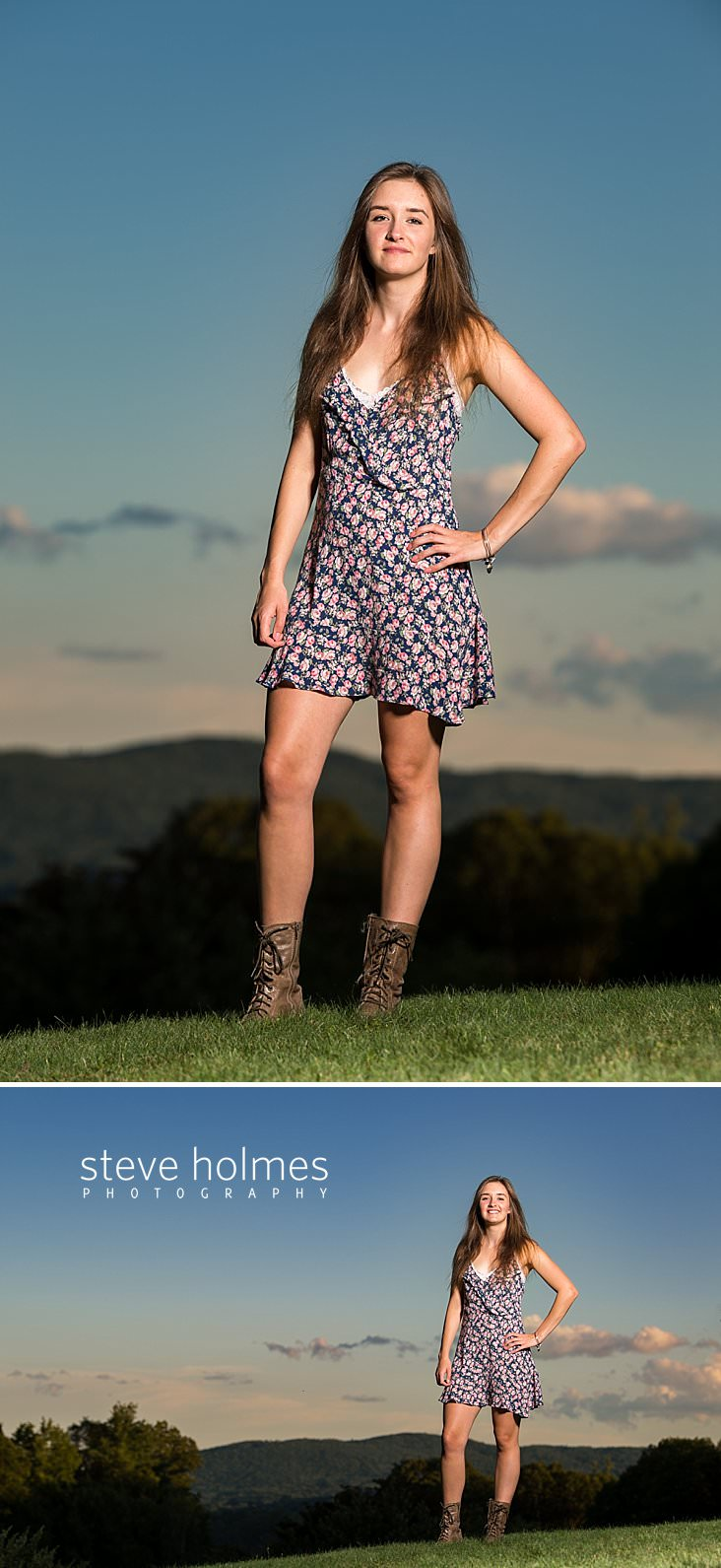 08_Brunette teen stands on hill top in floral dress and brown boots for senior photo.jpg