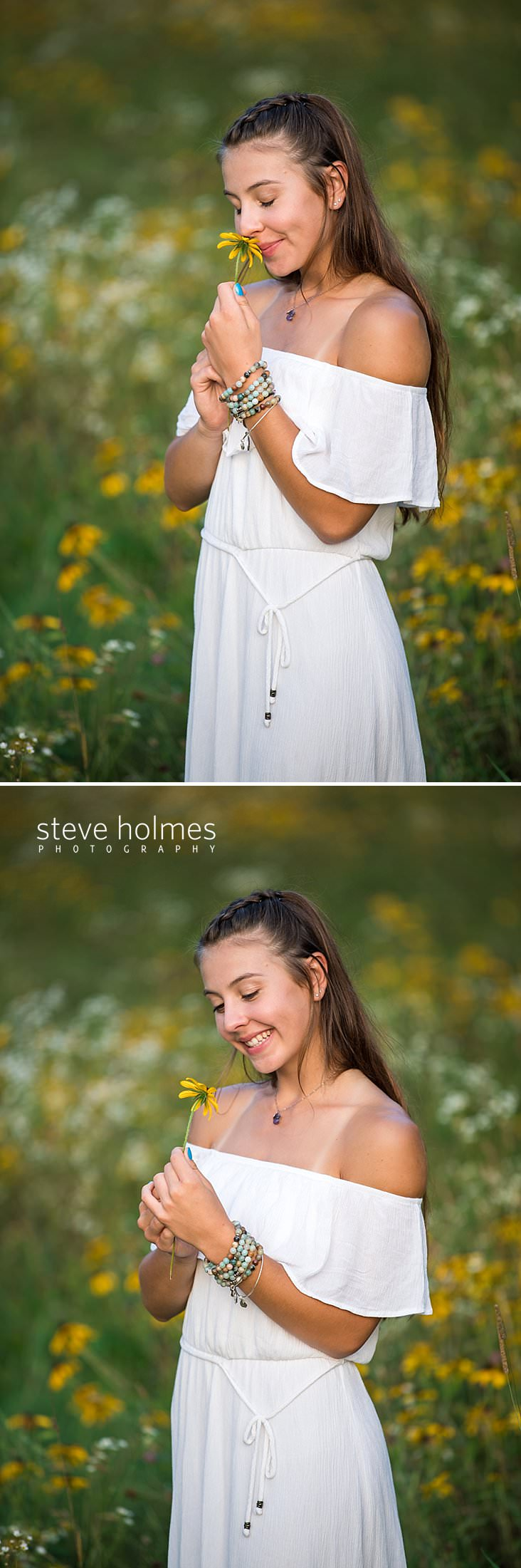 08_Young woman in white dress smells a flower with her eyes closed for senior portrait.jpg