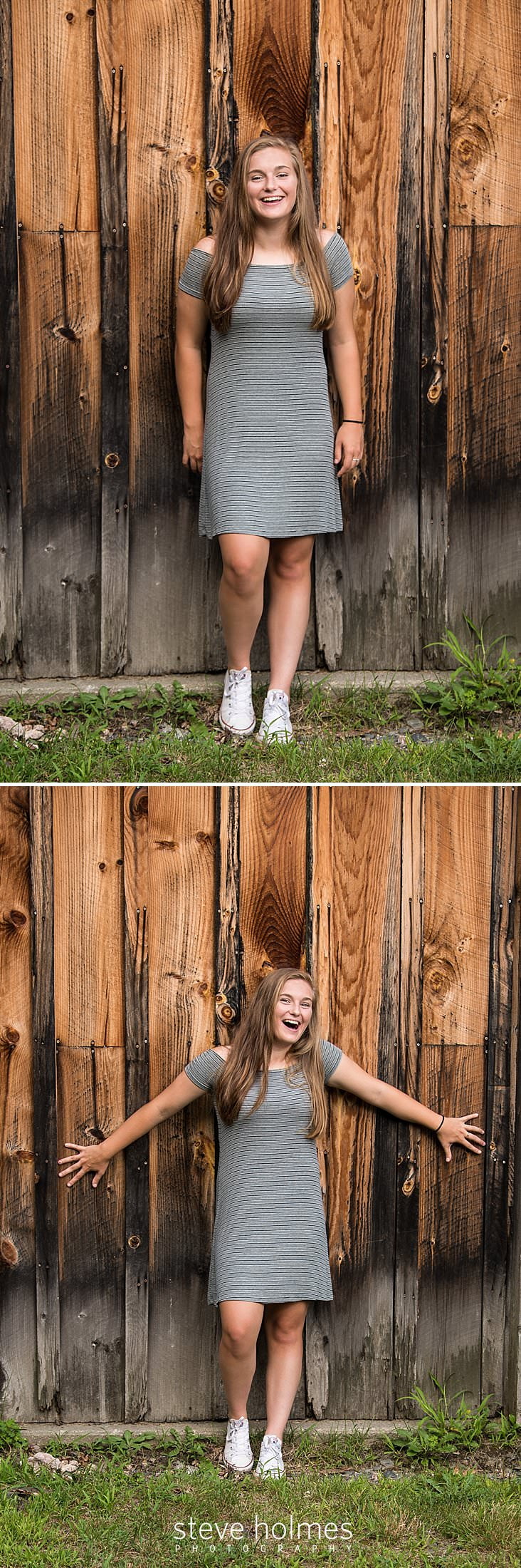 12_Teen girl in grey striped dress and converse sneakers leans against barn wall.jpg