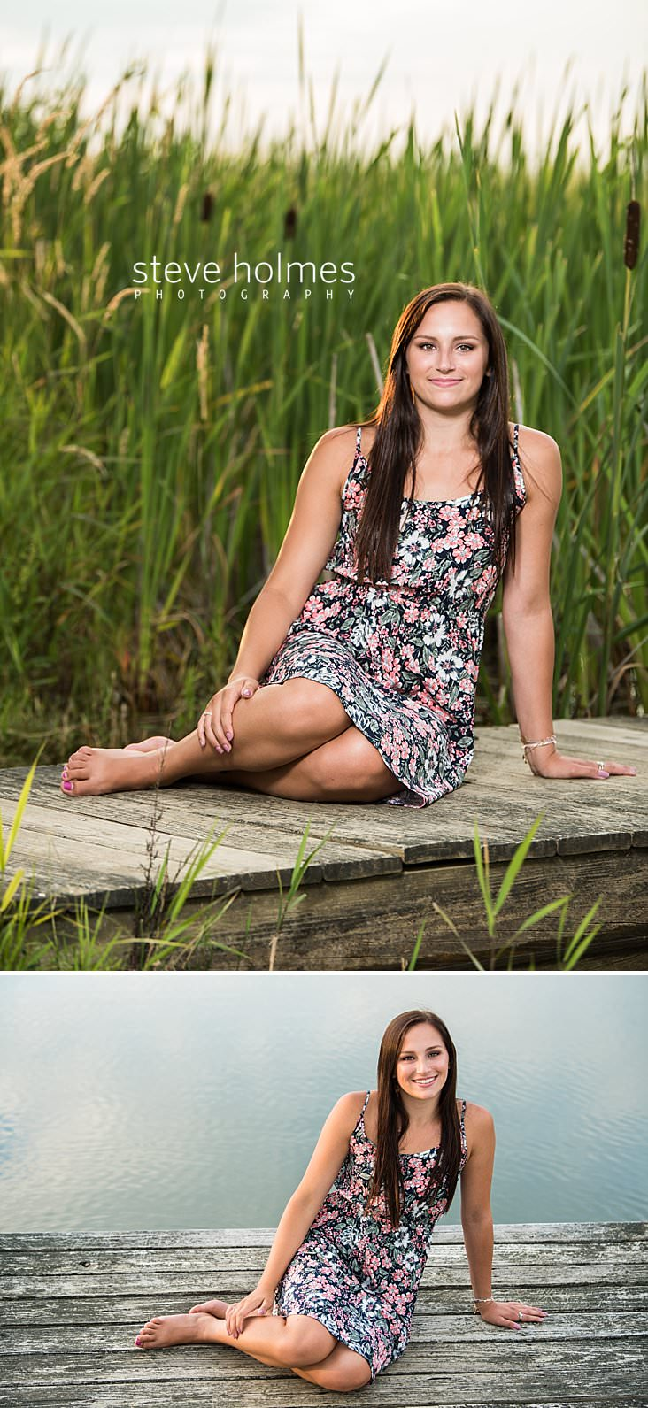 15_Barefoot teen in floral dress sits on a dock for senior portrait.jpg
