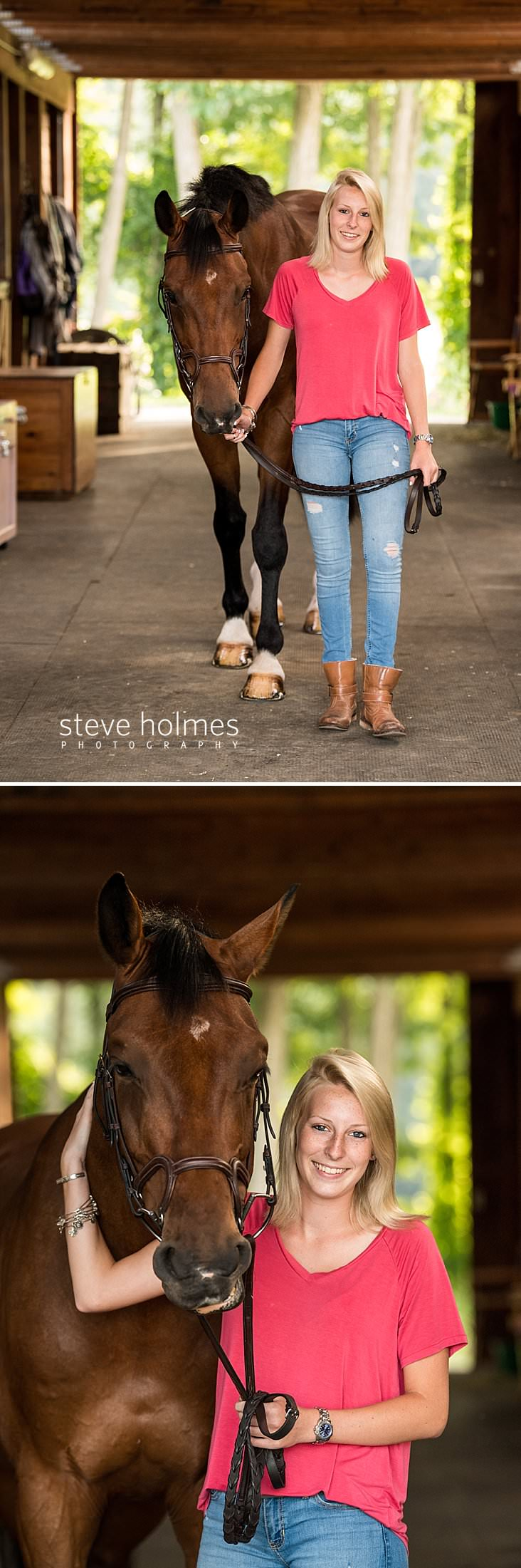 04_Young woman leads her horse in barn for senior portrait.jpg