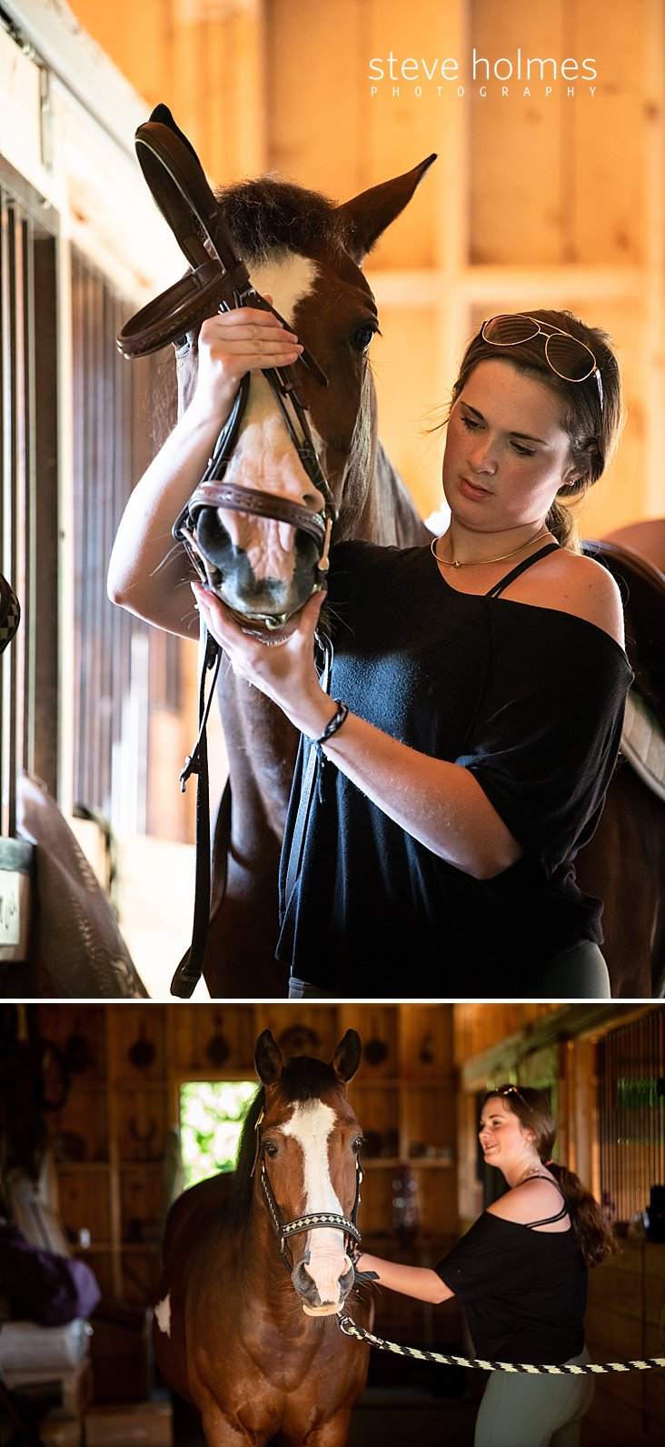 08_Teen girl places bit in horses mouth for senior portrait.jpg