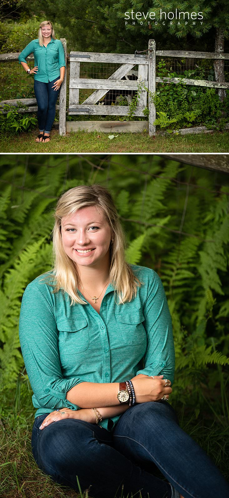 12_Teenaged girl with blonde hair leans against wooden fence for outdoor senior portrait.jpg