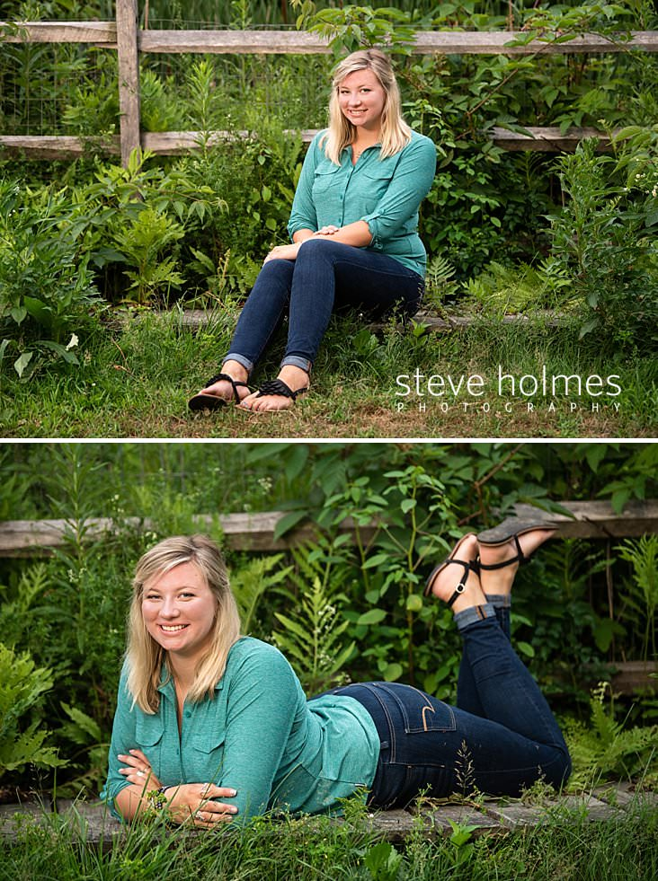 15_Blonde teen sits outside with green foliage and fence as background for senior photo.jpg