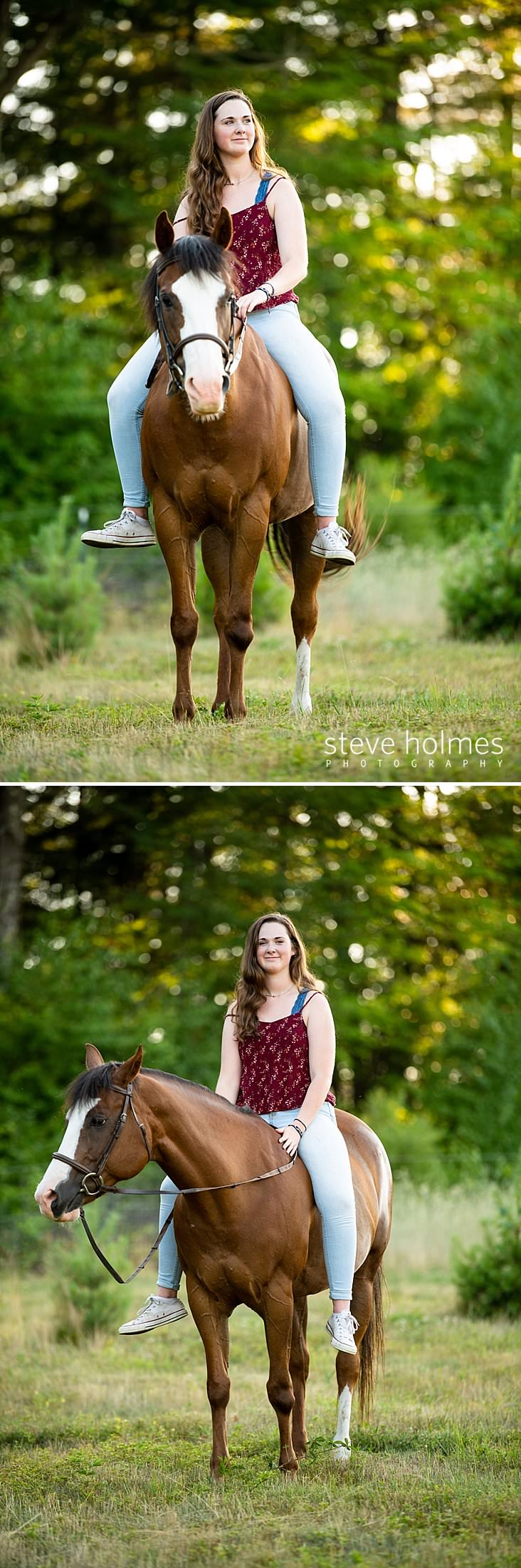 15_Teen looks to the side while riding her horse for senior photo.jpg