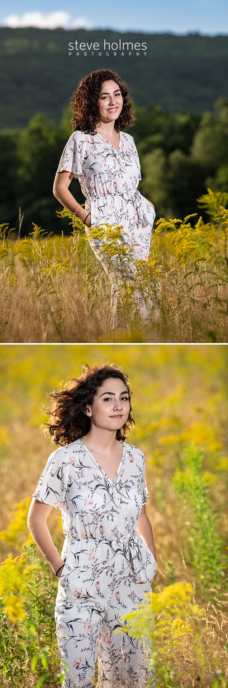 08_Curly haired brunette in jumper smiles for senior photo in New England field.jpg
