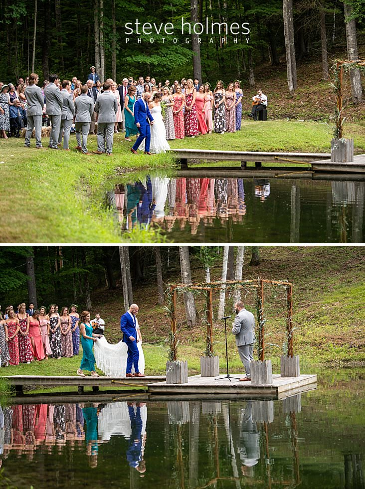 49_Bride and groom walk on dock to altar on pond.jpg