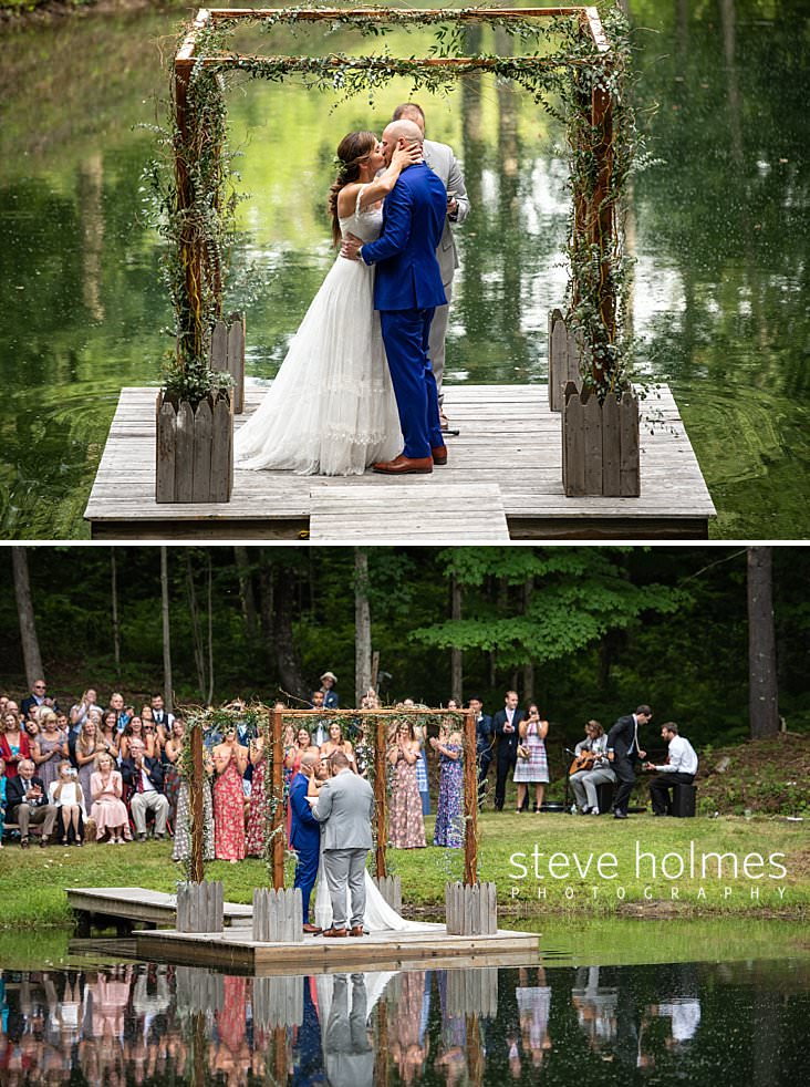 61_Bride and groom kiss under altar on dock on a pond.jpg