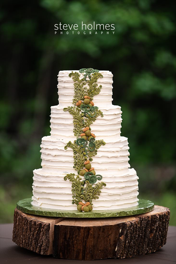 79_Wedding cake decorated with green ferns and acorn frosting.jpg