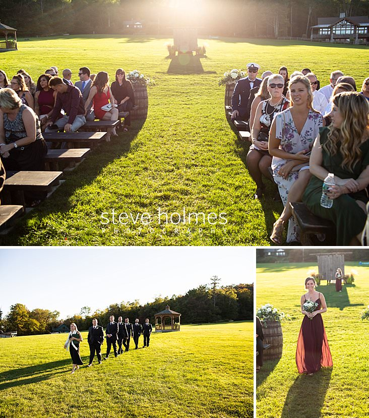 29_Guests sit on wooden benches for outdoor wedding ceremony at Mountain Top Inn and Resort.jpg