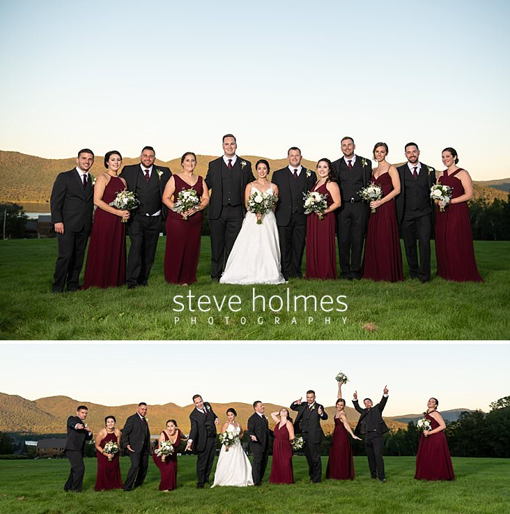 47_Bride and groom pose with the bridal party in burgundy.jpg