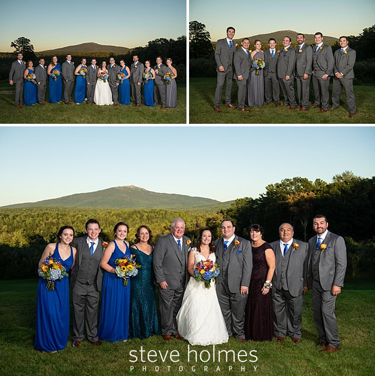 52_Portrait of bride and groom with the bridal party in front of Mt. Monadnock.jpg
